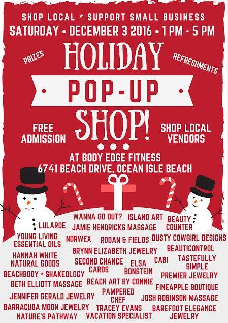 Holiday Pop Up Shop Dec 3rd Shallotte Nc Shallottenc